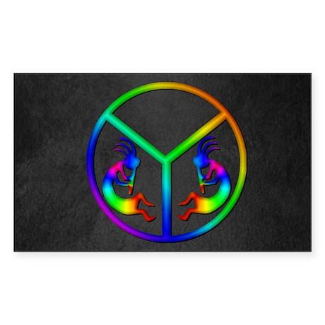 Kokopelli Peace Rectangle Sticker