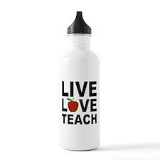Live Love Teach Apple Water Bottle