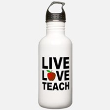 Live Love Teach Apple Water Bottle