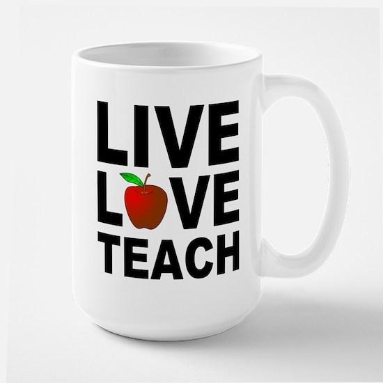 Live Love Teach Apple Large Mug