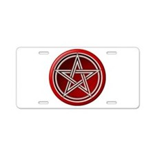 Red Pentacle Aluminum License Plate