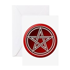 Red Pentacle Greeting Card