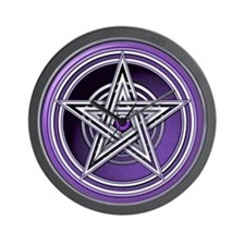 Purple Pentacle w/inlay Wall Clock