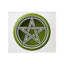Green Pentacle Throw Blanket