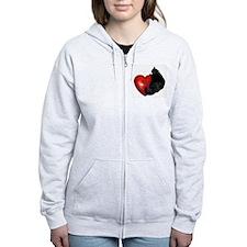 Black Cat Heart Zip Hoodie