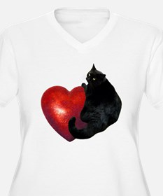 Black Cat Heart T-Shirt