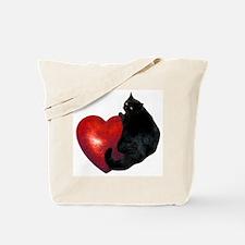 Black Cat Heart Tote Bag