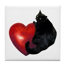 Black Cat Heart Tile Coaster