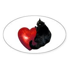 Black Cat Heart Decal