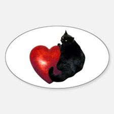 Black Cat Heart Decal