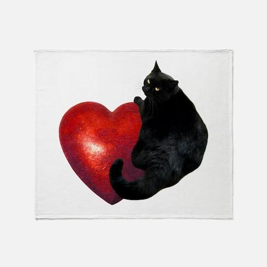 Black Cat Heart Throw Blanket