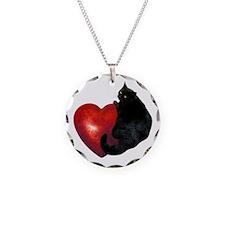 Black Cat Heart Necklace