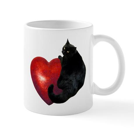 Black Cat Heart Mug