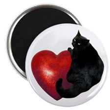 Black Cat Heart Magnet