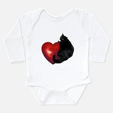 Black Cat Heart Long Sleeve Infant Bodysuit