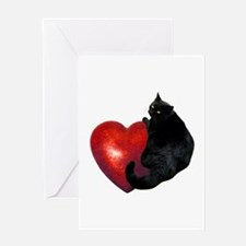 Black Cat Heart Greeting Card