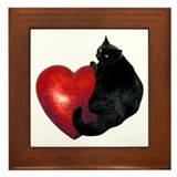 Black cat Framed Tiles