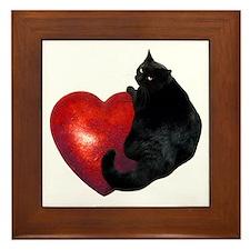 Black Cat Heart Framed Tile
