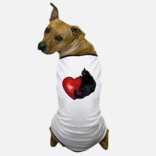 Black Cat Heart Dog T-Shirt