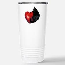 Black Cat Heart Stainless Steel Travel Mug