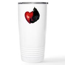 Black Cat Heart Travel Mug
