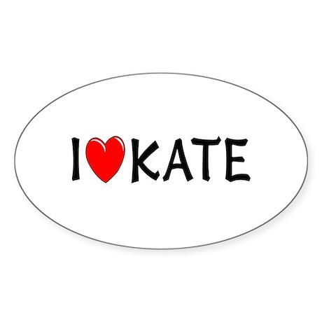 I Love Kate Oval Sticker