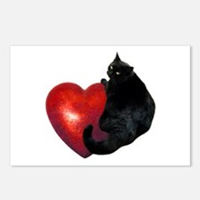 Black Cat Heart Postcards (Package of 8)