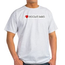 I Love Chocolate Babies Ash Grey T-Shirt