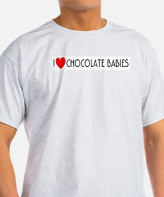 I Love Chocolate Babies Ash Grey T-Shirt