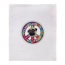 Peace, Love and Pugs Throw Blanket