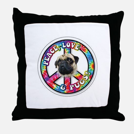 Peace, Love and Pugs Throw Pillow
