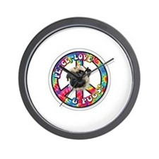 Peace, Love and Pugs Wall Clock