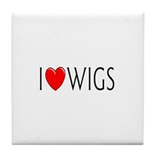 I Love Wigs Tile Coaster