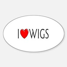 I Love Wigs Oval Decal