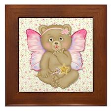 Blowing Kisses Fairy Bear Framed Tile