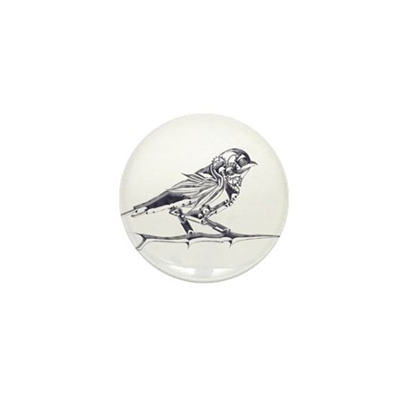 Industrial Finch (silver) Mini Button (100 pack)