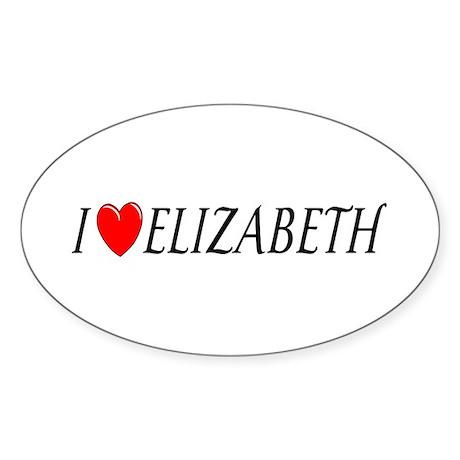 I Love Elizabeth Oval Sticker