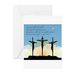Jesus Crucifixion/John 3:16 Greeting Cards (Pk of