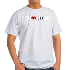 I Love Beer Ash Grey T-Shirt