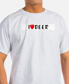 I Love Beer Ash Grey T-Shirt