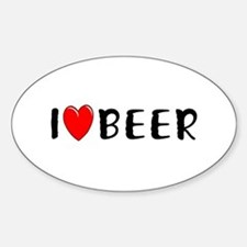 I Love Beer Oval Decal