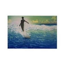 Vintage Surfer Rectangle Magnet