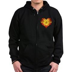 Flame Heart Zip Hoodie