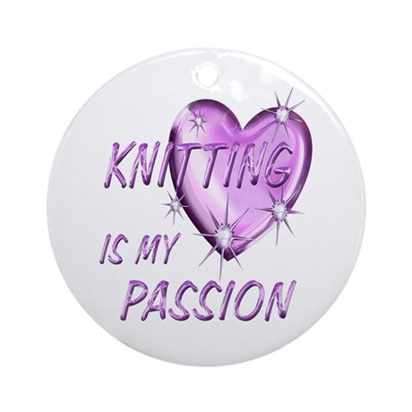 Knitting Passion Ornament (Round)