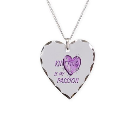Knitting Passion Necklace Heart Charm