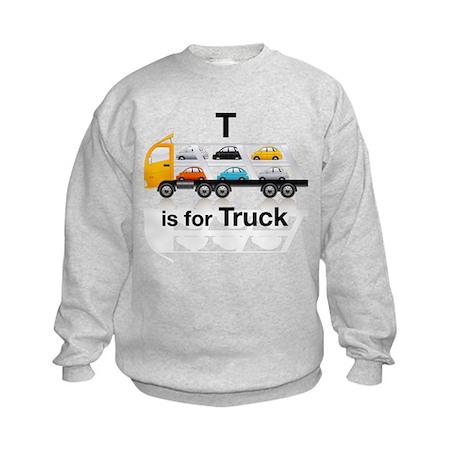 T is for Truck: Car Carrier Kids Sweatshirt