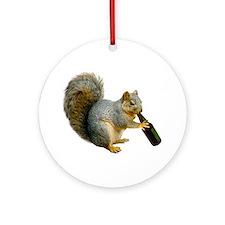 Squirrel Beer Ornament (Round)