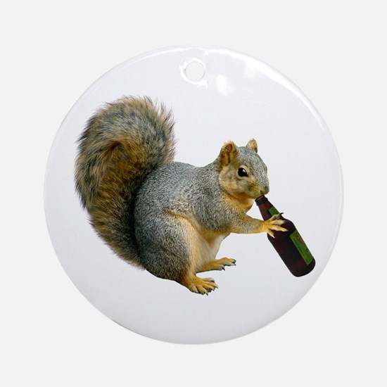 Squirrel Beer Ornament (Round)