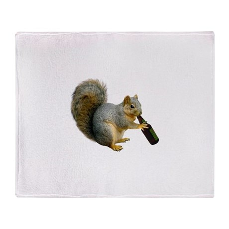 Squirrel Beer Throw Blanket