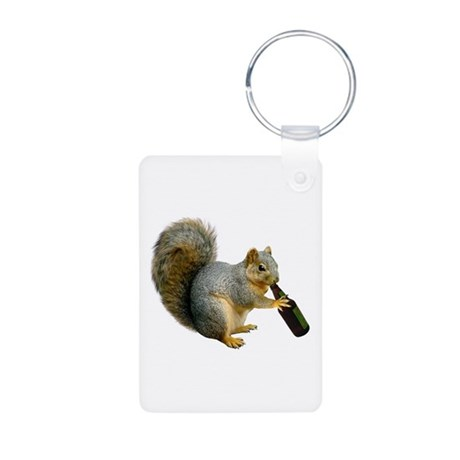 Squirrel Beer Aluminum Photo Keychain